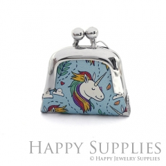 1pcs Unicorn Handmade Tiny Silver Photo Leather Purse Pendant Necklace QW128-S
