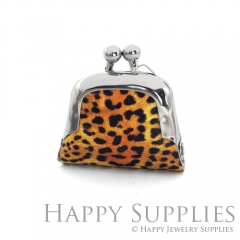 1pcs Leopard Print Handmade Tiny Silver Photo Leather Purse Pendant Necklace QW142-S