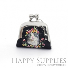 1pcs Cat Handmade Tiny Silver Photo Leather Purse Pendant Necklace QW134-S