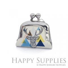 1pcs Deer Handmade Tiny Silver Photo Leather Purse Pendant Necklace QW117-S