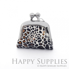 1pcs Leopard Print Handmade Tiny Silver Photo Leather Purse Pendant Necklace QW135-S