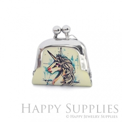 1pcs Unicorn Handmade Tiny Silver Photo Leather Purse Pendant Necklace QW133-S