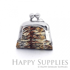 1pcs Leopard Print Handmade Tiny Silver Photo Leather Purse Pendant Necklace QW145-S