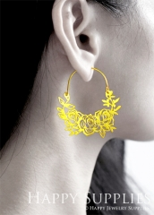 2Pairs (4Pcs) Flower Raw Brass Drop Earrings, Elegant Hoop Earrings, Perfect for any Occasion (RD452-B)