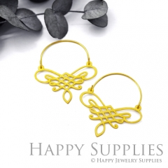 2Pairs (4Pcs) Geomertic Raw Brass Drop Earrings, Elegant Hoop Earrings, Perfect for any Occasion (RD445-B)