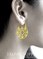 2Pairs (4Pcs) Geomertic Raw Brass Drop Earrings, Elegant Hoop Earrings, Perfect for any Occasion (RD455-S)