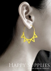 2Pairs (4Pcs) Flower Raw Brass Drop Earrings, Elegant Hoop Earrings, Perfect for any Occasion (RD453-B)