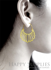 2Pairs (4Pcs) Geomertic Raw Brass Drop Earrings, Elegant Hoop Earrings, Perfect for any Occasion (RD460-S)