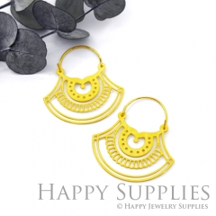 2Pairs (4Pcs) Geomertic Raw Brass Drop Earrings, Elegant Hoop Earrings, Perfect for any Occasion (RD446-S)
