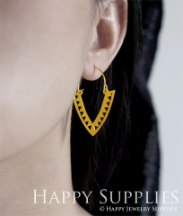 2Pairs (4Pcs) Geomertic Raw Brass Drop Earrings, Elegant Hoop Earrings, Perfect for any Occasion (RD458-S)
