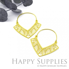 2Pairs (4Pcs) Geomertic Raw Brass Drop Earrings, Elegant Hoop Earrings, Perfect for any Occasion (RD451-B)