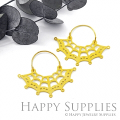 2Pairs (4Pcs) Geomertic Raw Brass Drop Earrings, Elegant Hoop Earrings, Perfect for any Occasion (RD461-S)