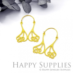 2Pairs (4Pcs) Geomertic Raw Brass Drop Earrings, Elegant Hoop Earrings, Perfect for any Occasion (RD459-S)