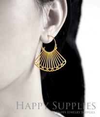 2Pairs (4Pcs) Geomertic Raw Brass Drop Earrings, Elegant Hoop Earrings, Perfect for any Occasion (RD462-S)