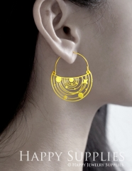2Pairs (4Pcs) Geomertic Raw Brass Drop Earrings, Elegant Hoop Earrings, Perfect for any Occasion (RD464-B)