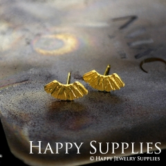 1Pair (HBE12-G) Handmade 24K Golden Brass Stud Earrings (HBE) Brass Statement Earring Dangle Stud Earring