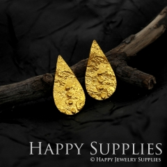 1Pair (HBE18-G) Handmade 24K Golden Drop Shape Brass Stud Earrings (HBE) Brass Statement Earring Dangle Stud Earring