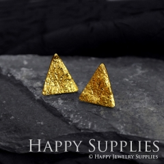 1Pair (HBE24-G) Handmade 24K Golden Brass Triangle Stud Earrings (HBE) Brass Statement Earring Dangle Stud Earring