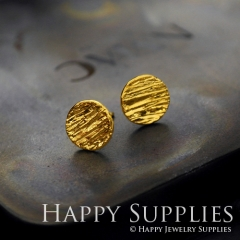 1Pair (HBE03-G) Handmade 24K Golden Brass Circle Stud Earrings (HBE) Brass Statement Earring Dangle Stud Earring