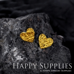 1Pair (HBE11-G) Handmade 24K Golden Brass Heart Stud Earrings (HBE) Brass Statement Earring Dangle Stud Earring