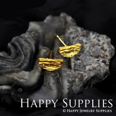 1Pair (HBE09-G) Handmade 24K Golden Brass Circle Stud Earrings (HBE) Brass Statement Earring Dangle Stud Earring