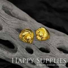 1Pair (HBE36-G) Handmade 24K Golden Brass Geometric Stud Earrings (HBE) Brass Statement Earring Dangle Stud Earring