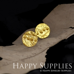 1Pair (HBE05-G) Handmade 24K Golden Brass Circle Stud Earrings (HBE) Brass Statement Earring Dangle Stud Earring