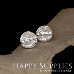 1Pair (HBE05-S) Handmade 925 Silver Brass Circle Stud Earrings (HBE) Brass Statement Earring Dangle Stud Earring