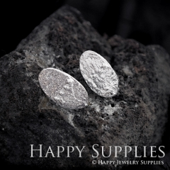 1Pair (HBE26-S) Handmade 925 Silver Brass Oval Stud Earrings (HBE) Brass Statement Earring Dangle Stud Earring