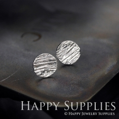 1Pair (HBE03-S) Handmade 925 Silver Brass Circle Stud Earrings (HBE) Brass Statement Earring Dangle Stud Earring