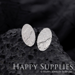 1Pair (HBE15-S) Handmade 925 Silver Oval Brass Stud Earrings (HBE) Brass Statement Earring Dangle Stud Earring