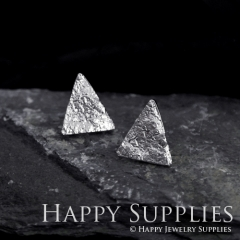 1Pair (HBE24-S) Handmade 925 Silver Brass Triangle Stud Earrings (HBE) Brass Statement Earring Dangle Stud Earring