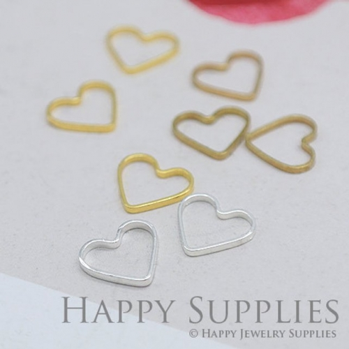 20pcs - 9x10mm High Quality Heart Charms / Pendants Connector (ZG141-Heart)