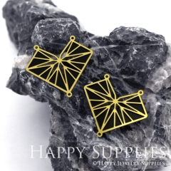 2pcs Raw Brass Paint Black Geometric Charm / Bar Pendant, Fit For Necklace, Earring (BB17)