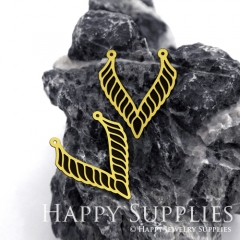 2pcs Raw Brass Paint Black Geometric Charm / Bar Pendant, Fit For Necklace, Earring (BB15)