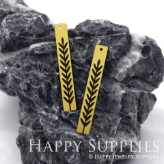 4pcs Raw Brass Paint Black Branch Charm / Bar Pendant, Fit For Necklace, Earring (BB04)