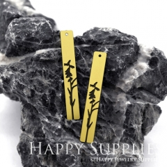 4pcs Raw Brass Paint Black Bird Branch Charm / Bar Pendant, Fit For Necklace, Earring (BB02)
