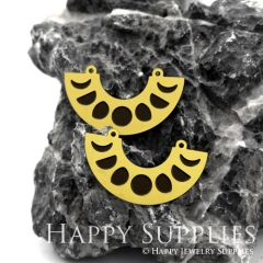 4pcs Raw Brass Paint Black Moon Charm / Bar Pendant, Fit For Necklace, Earring (BB28)