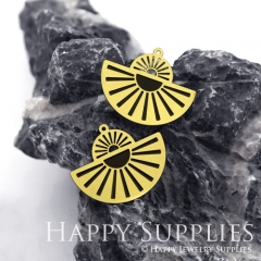 2pcs Raw Brass Paint Black Geometric Charm / Bar Pendant, Fit For Necklace, Earring (BB18)