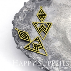 2pcs Raw Brass Paint Black Geometric Branch Charm / Bar Pendant, Fit For Necklace, Earring (BB36)