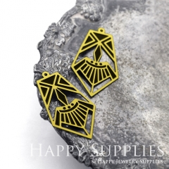 2pcs Raw Brass Paint Black Geometric Charm / Bar Pendant, Fit For Necklace, Earring (BB42)