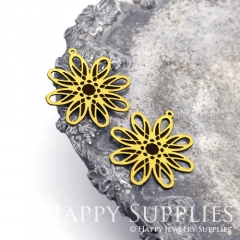2pcs Raw Brass Paint Black Flower Charm / Bar Pendant, Fit For Necklace, Earring (BB39)