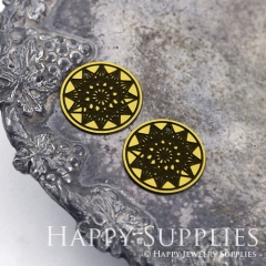 4pcs Raw Brass Paint Black Star Charm / Bar Pendant, Fit For Necklace, Earring (BB38)