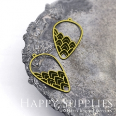2pcs Raw Brass Paint Black Teardrop Branch Charm / Bar Pendant, Fit For Necklace, Earring (BB33)