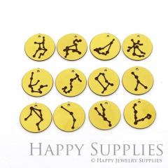 4pcs Raw Brass Paint Black 12 Constellation Charm / Bar Pendant, Fit For Necklace, Earring (BB31)