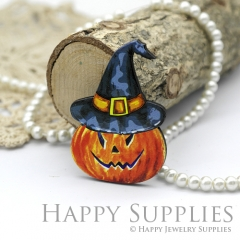 4Pcs Mini Handmade Wooden Laser Cut Pumpkin Charms / Pendants (CW101-I)