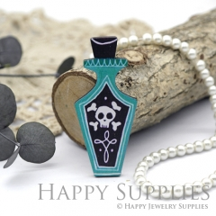 4Pcs Mini Handmade Wooden Laser Cut Green Bottle Skull Charms / Pendants (CW102-C)