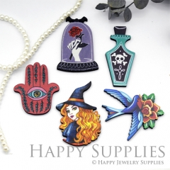 4Pcs Mini Handmade Wooden Laser Cut Easter Halloween Animal Flower Charms / Pendants (CW102)