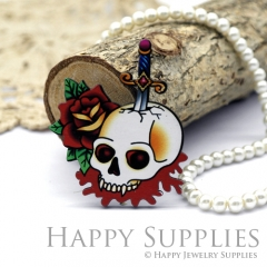 4Pcs Mini Handmade Wooden Laser Cut Skull Halloween Charms / Pendants (CW101-G)