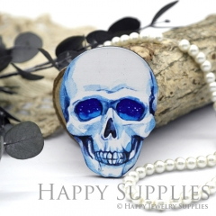 4Pcs Mini Handmade Wooden Laser Cut Easter Halloween Skull Charms / Pendants (CW103-D)